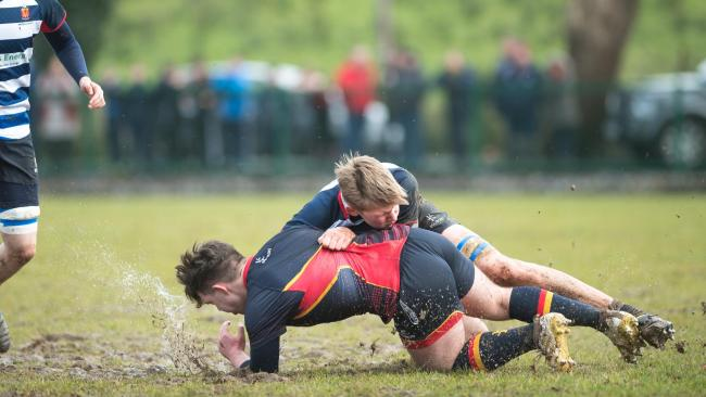 Enniskillen Royal Grammar School's Justin White was heading for the corner until he was tackled by a Wallace player during the Medallion Shield quarter-final encounter on Saturday.*