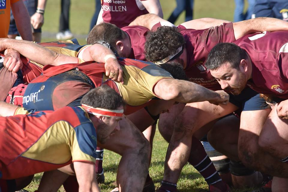 A scrum during Enniskillen's vital win over Ballyclare on Saturday.