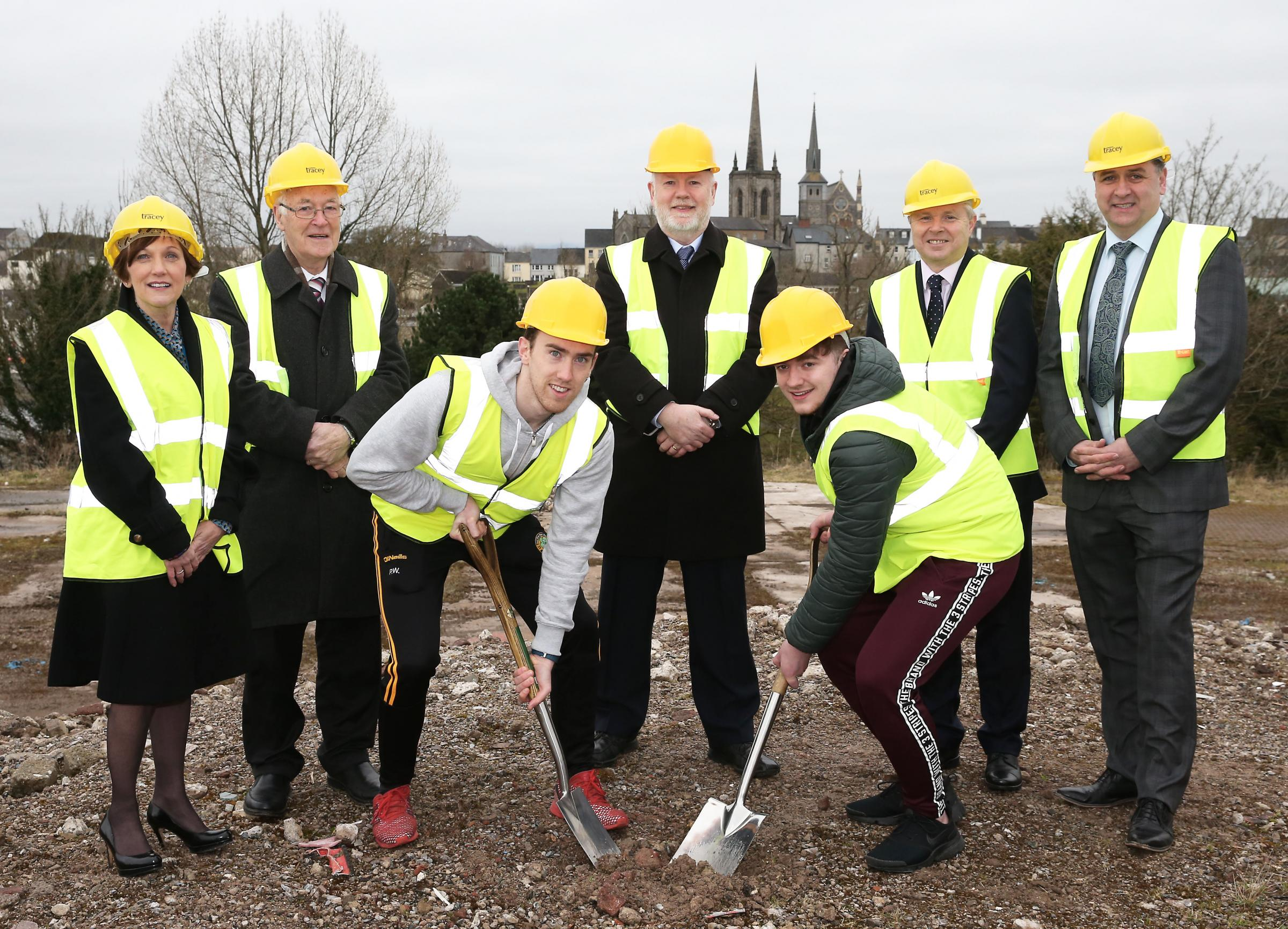 Celebrating cutting the first sod at South West College's new Erne Campus.