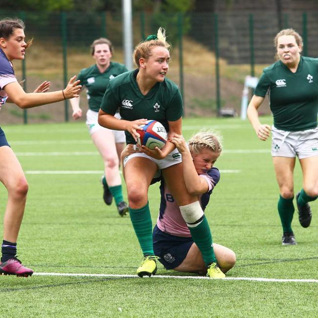Katie Hetherington in action for Ireland U18s.