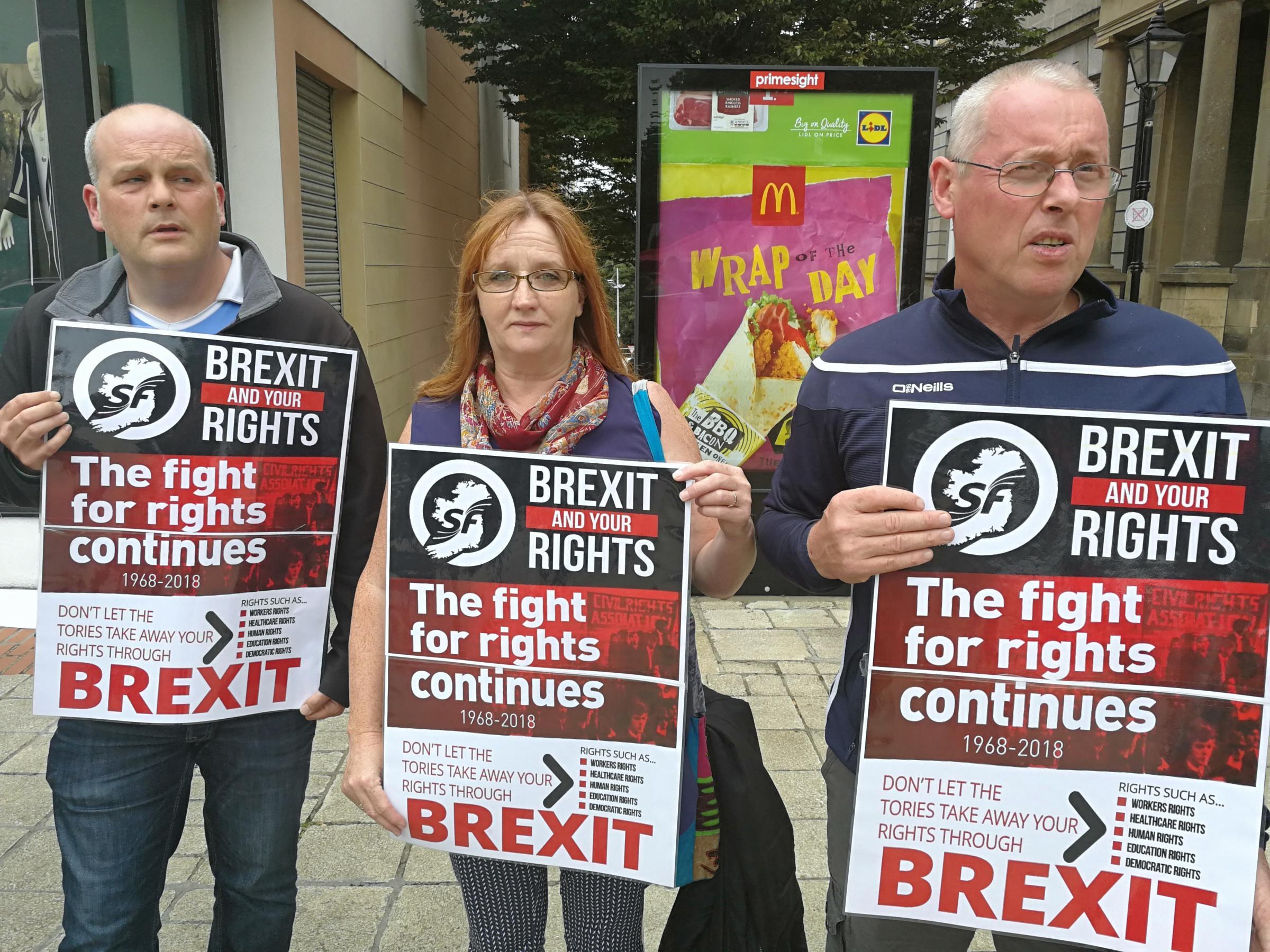 Seán Lynch MLA(right) with local councillors Barry Doherty and Debbie Coyle, calls on EU and Irish Governments to allocate new seats to North in order to protect rights