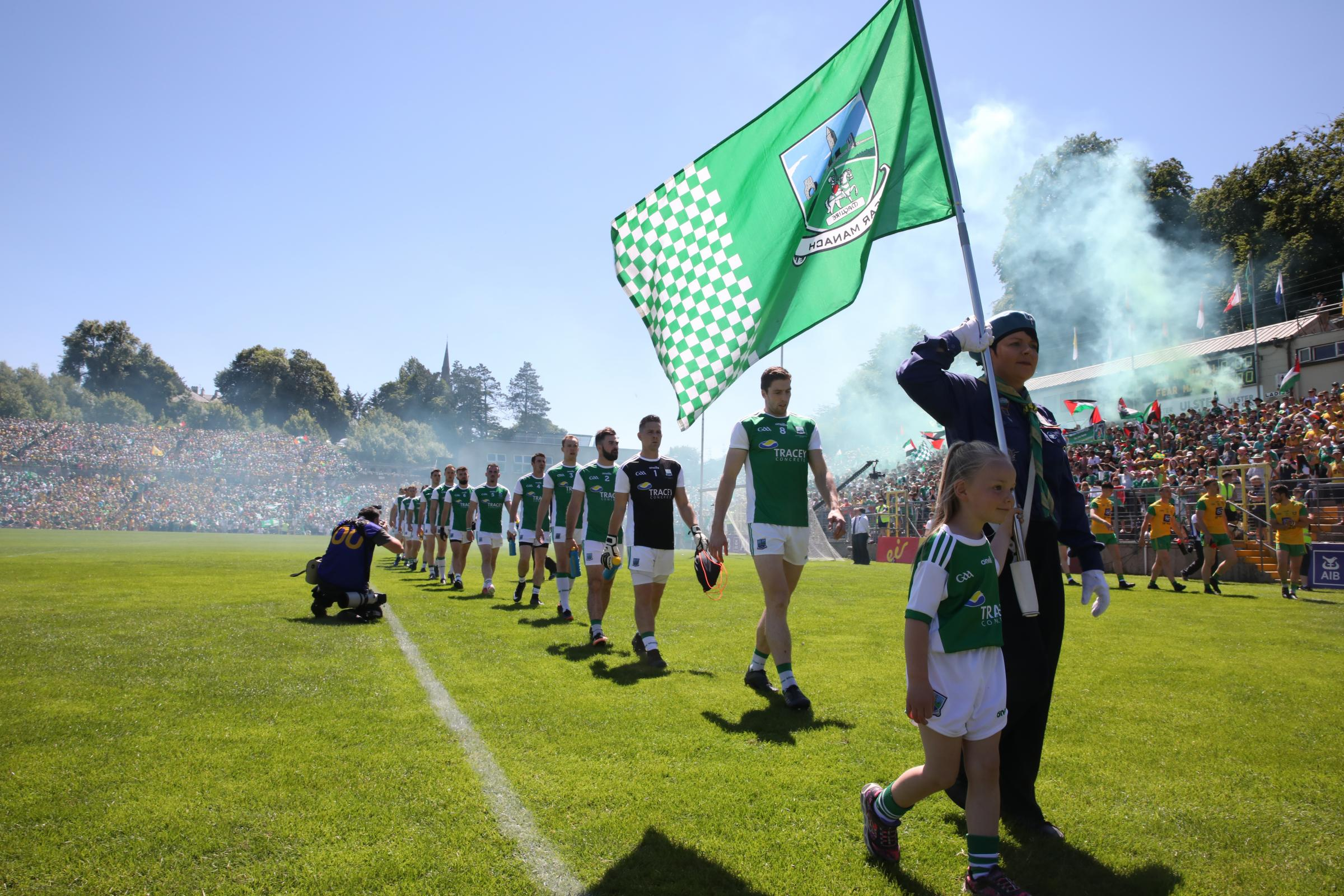 Eoin Donnelly leads the Fermanagh players in the parade prior to this summer's Ulster Final.