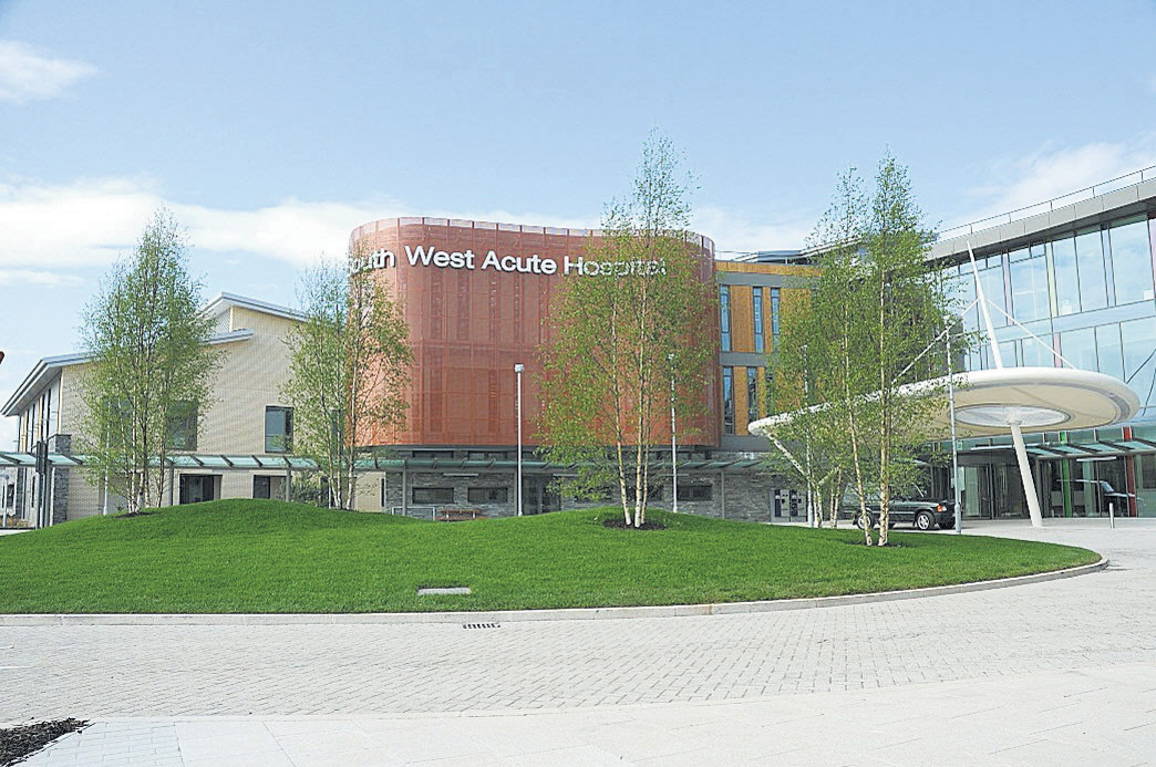 Front entrance picture of the new South West Acute Hospital opening next week on Thursday 21 June 2012.