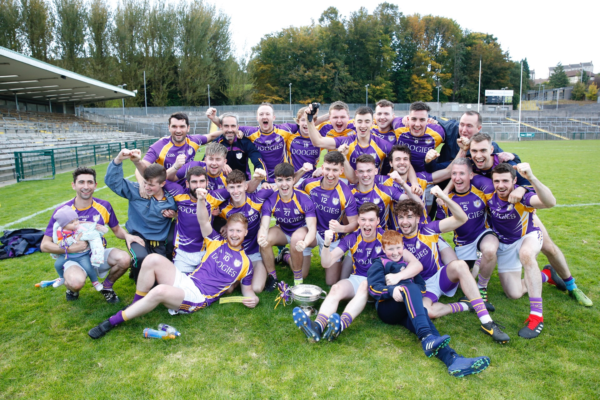The Derrygonnelly players celebrate their win over Ederney today at Brewster Park.