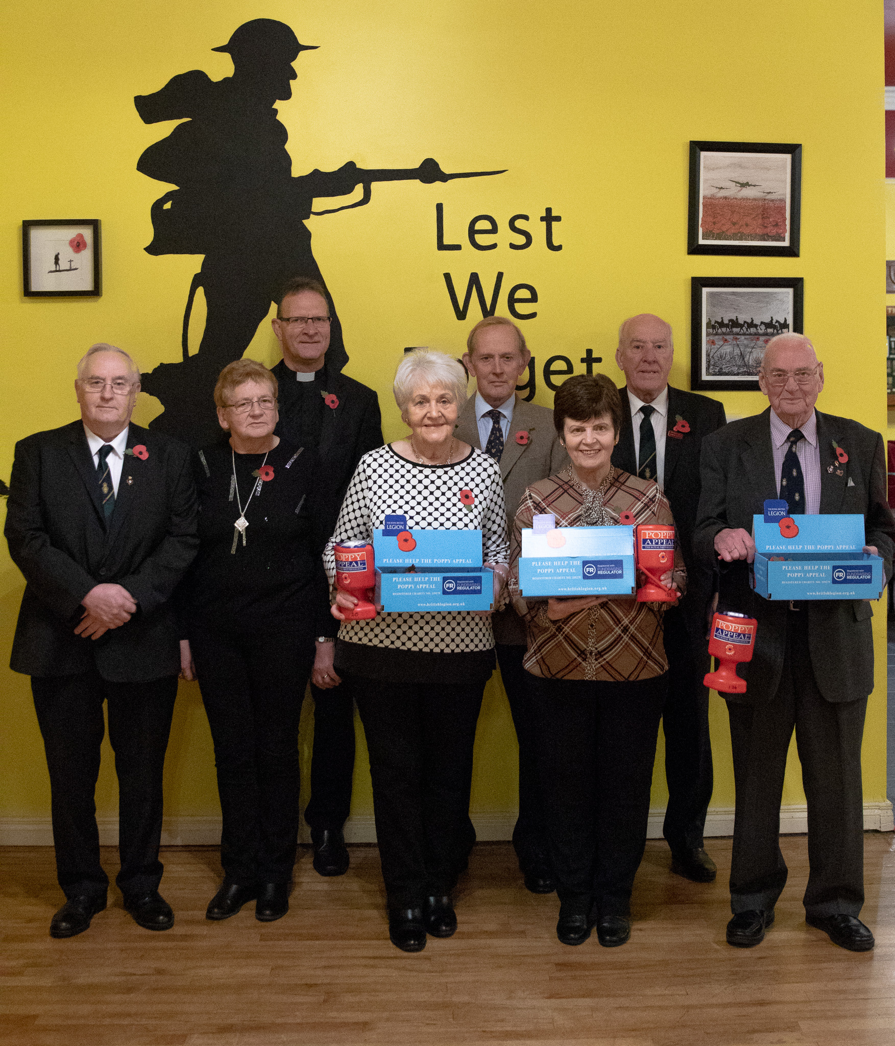 Pictured at the launch back (from left) Reverend Dean Hall, Lord Brookeborough and Billy Dixon organiser. Front (from left) John Jones, Chairman of Royal British Legion,Doreen Seaman, Myrtle Balfour, Sally Masterson and Will Gault.