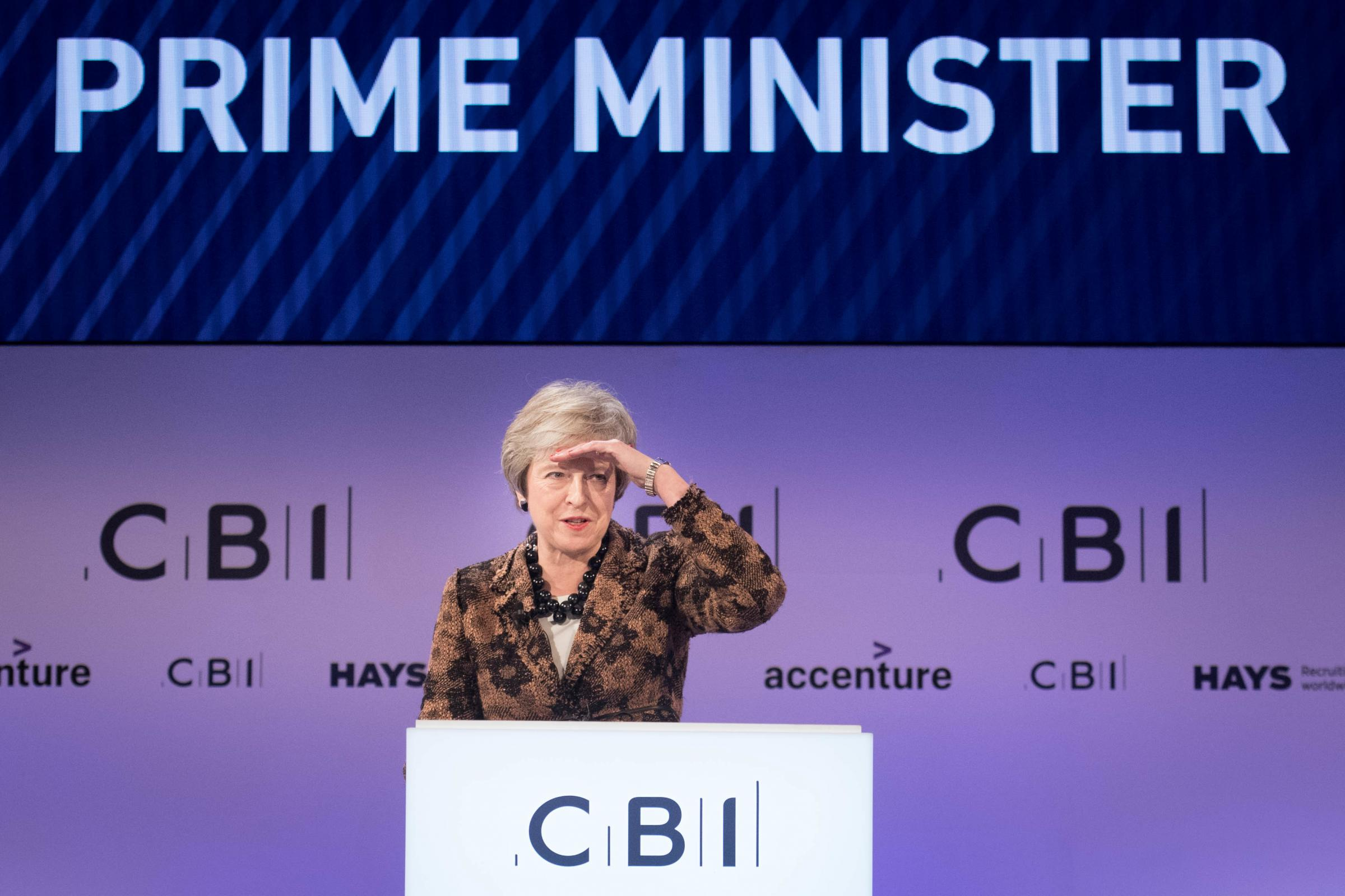 Prime Minister Theresa May speaking at the CBI annual conference at InterContinental Hotel in London. PRESS ASSOCIATION Photo. Picture date: Monday November 19, 2018. See PA story POLITICS Brexit. Photo credit should read: Stefan Rousseau/