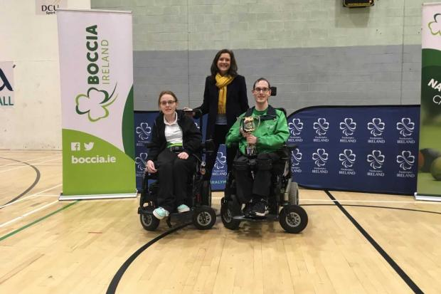 Niamh Dumphy  Dublin runner up Miriam Malone CEO Paralympics Ireland and William Graham Irish BC1 Boccia Champion