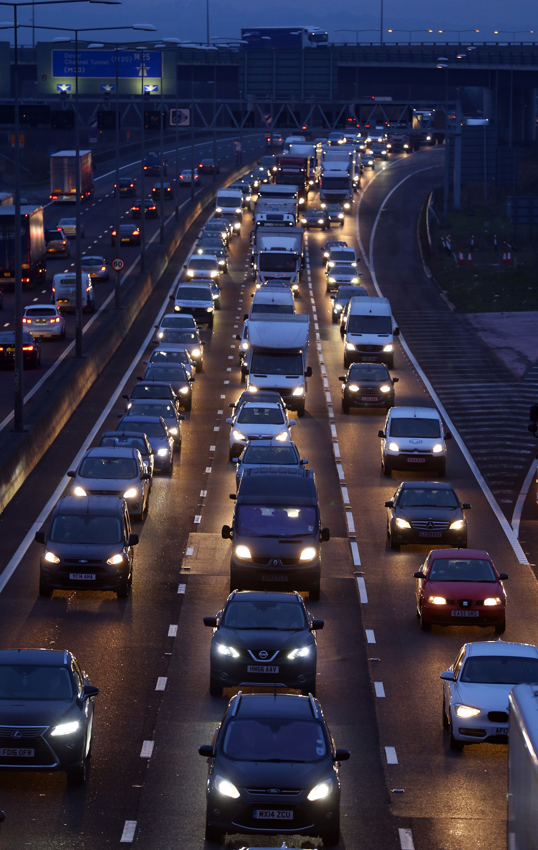 Embargoed to 0001 Monday December 17..File photo dated 16/12/16 of traffic on the M25 motorway near Dartford in Kent. The worst hotspots for Christmas getaway jams have been identified by traffic experts. PRESS ASSOCIATION Photo. Issue date: Monday Decemb