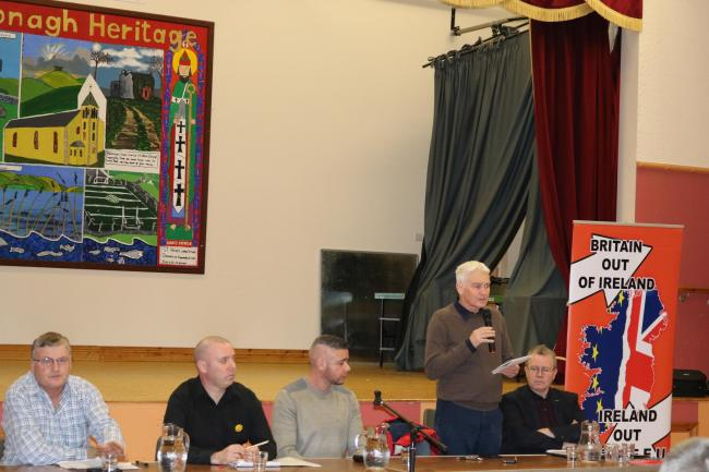 Tommy Kearney addressing a meeting of Republicans last week in Donagh.