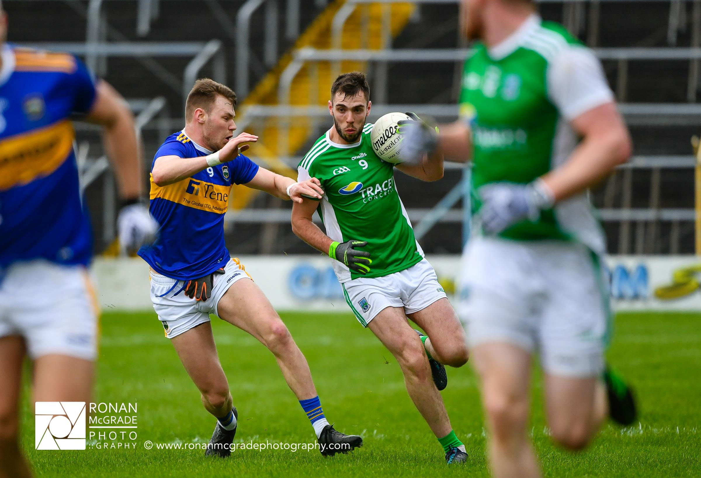 Fermanagh's Ryan Jones looks to drive forward against Tipperary at Semple Stadium.
