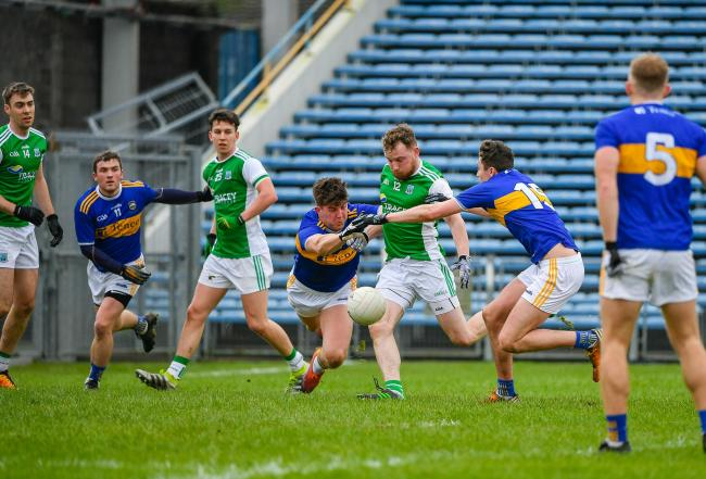 Aidan Breen gets a shot in from close range despite pressure from the Tipp back line.  Picture: Ronan McGrade
