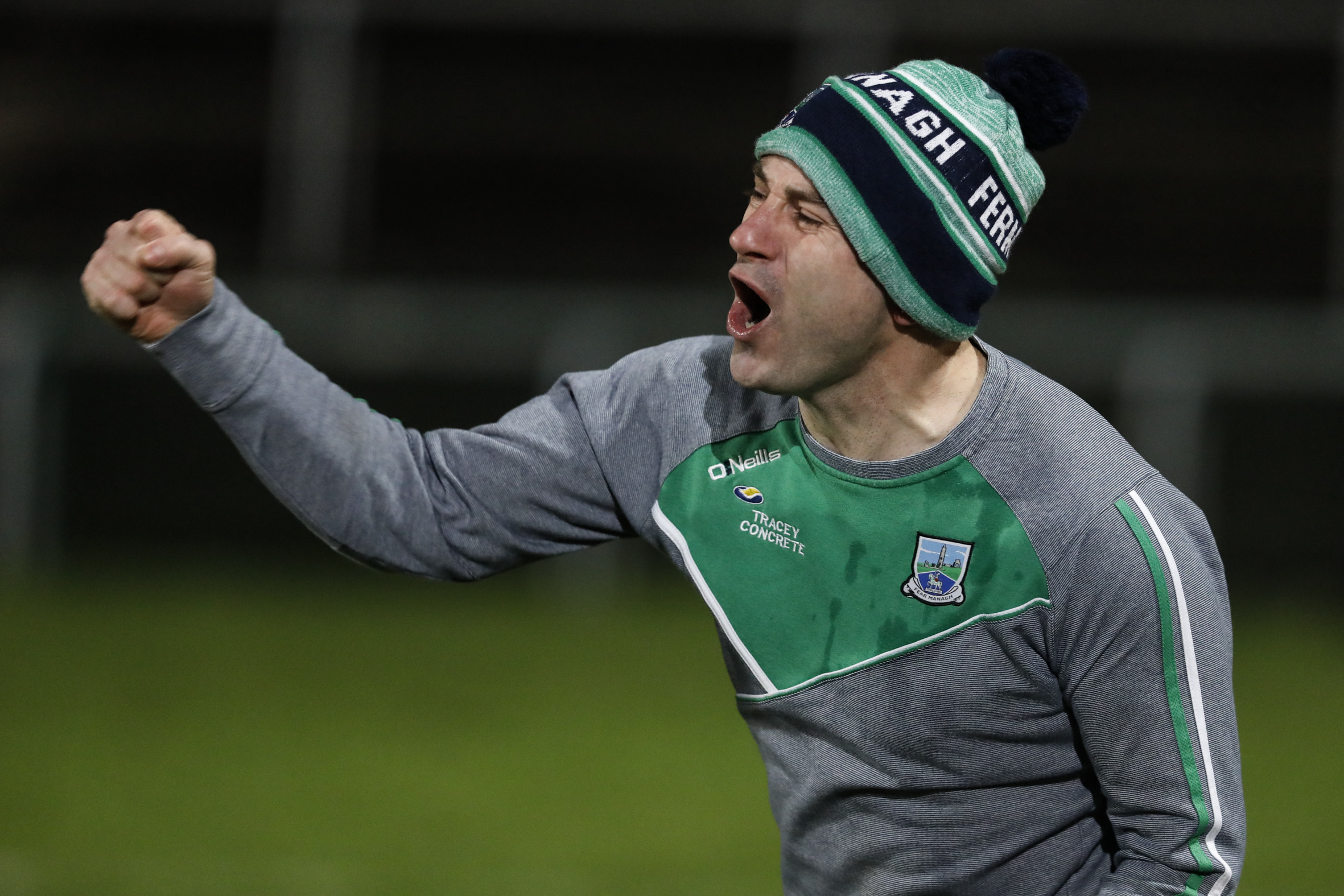 Rory Gallagher punches the air as Fermanagh win.