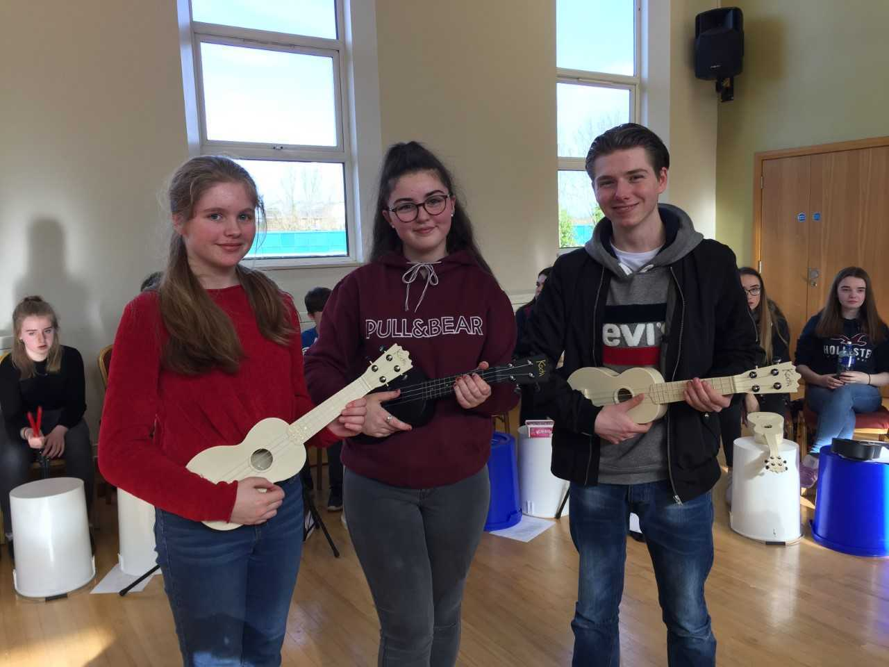 Darcey Pancott, Grainne Reynolds and Marc Hennessy who performed as part of the Ukes4Youth ukulele orchestra.