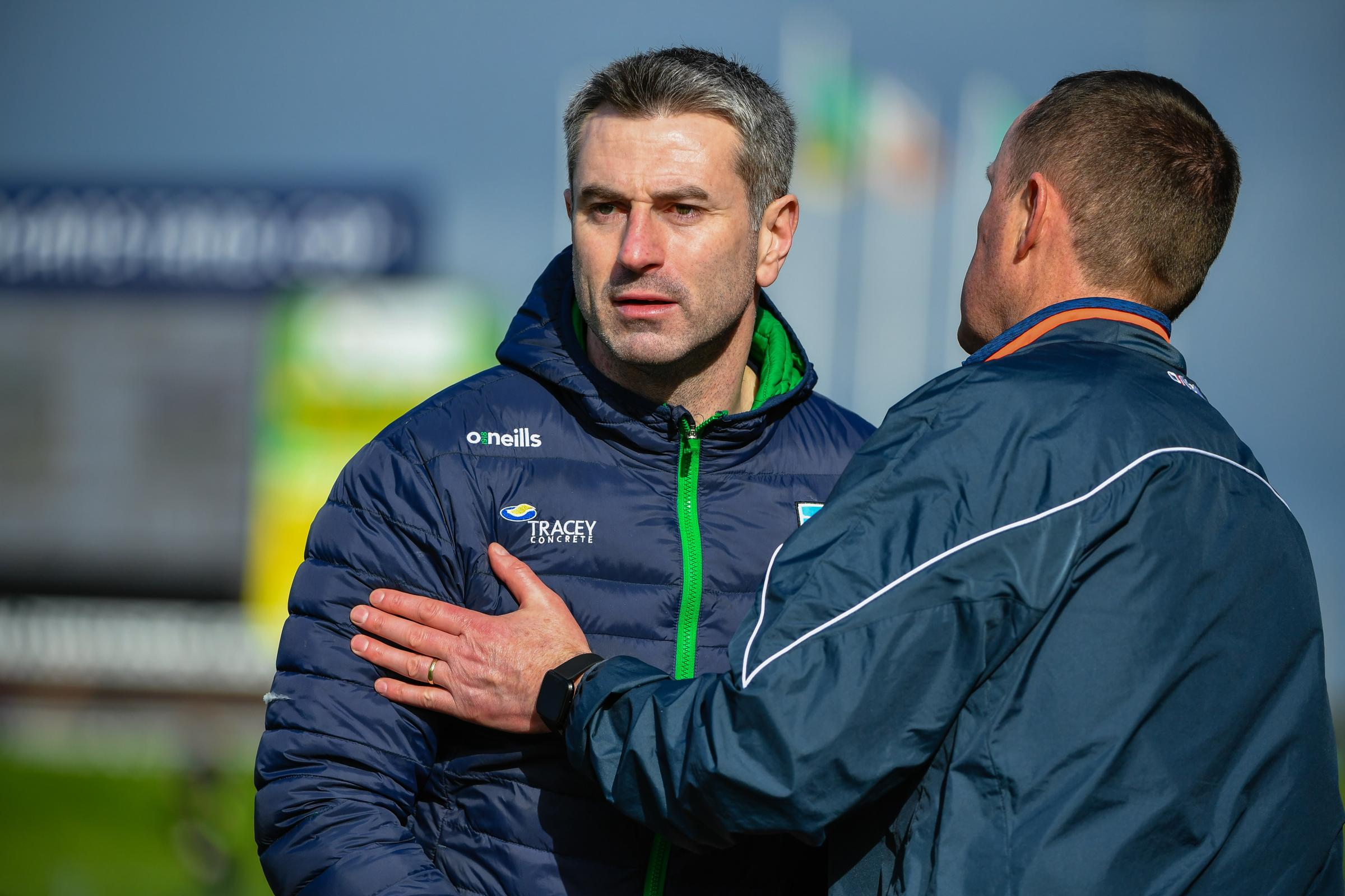 Fermanagh manager Rory Gallagher and Meath manager Andy McEntee shake hands after the game.  Picture: Ronan McGrade