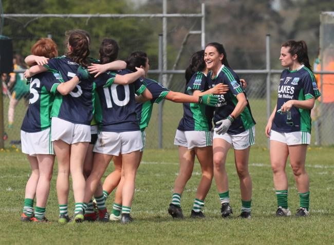 Hugs all round for the Fermanagh ladies who despite being well behiind came back to  defeat Limerick in the semi final of the NFL Division at Kinngegad, Westmeath on Saturday afternoon