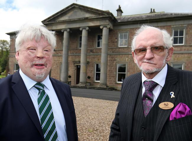 Simon Weston, War Veteran with Jim Dixon, Chairperson of Ely Centre Enniskillen at the launch of Brooke House, Health and Well Being Centre in Co.Fermanagh.
