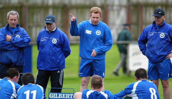 Harry McConkey after taking charge of Ballinamallard for the first time in 2005 flanked by coaches Denzil McDaniel and Fred Cleary.