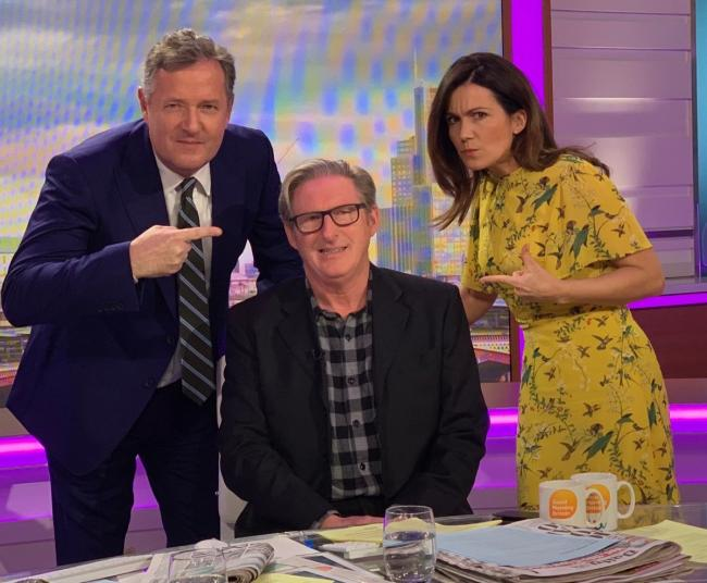 Adrian Dunbar on Good Morning Britain with presenters Susanna Reid and Piers Morgan.
