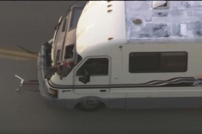 A dog jumped from a motor home during a police chase in Los Angeles