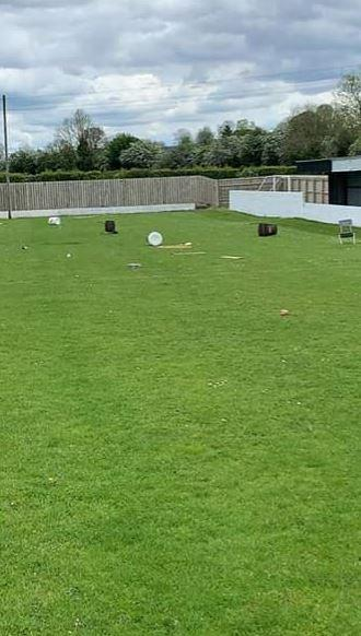 Some of the damage caused by the vandals at Fivemiletown United's football pitch