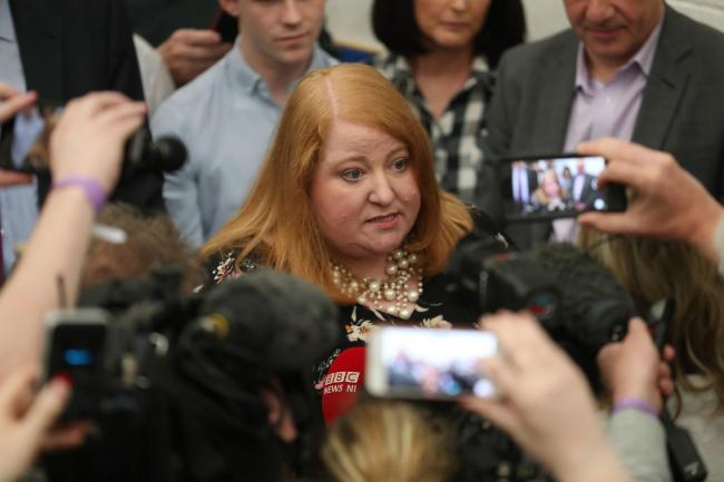 Alliance party leader and candidate Naomi Long at the European Parliamentary elections count at the Meadowbank Sports Arena in Magherafelt, Northern Ireland. Photo: Liam McBurney/PA Wire